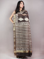 Brown Beige Ivory Hand Block Printed in Natural Colors Chanderi Saree With Geecha Zari Border - S03170680