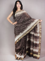 Brown Beige Ivory Hand Block Printed in Natural Colors Chanderi Saree With Geecha Zari Border - S03170682
