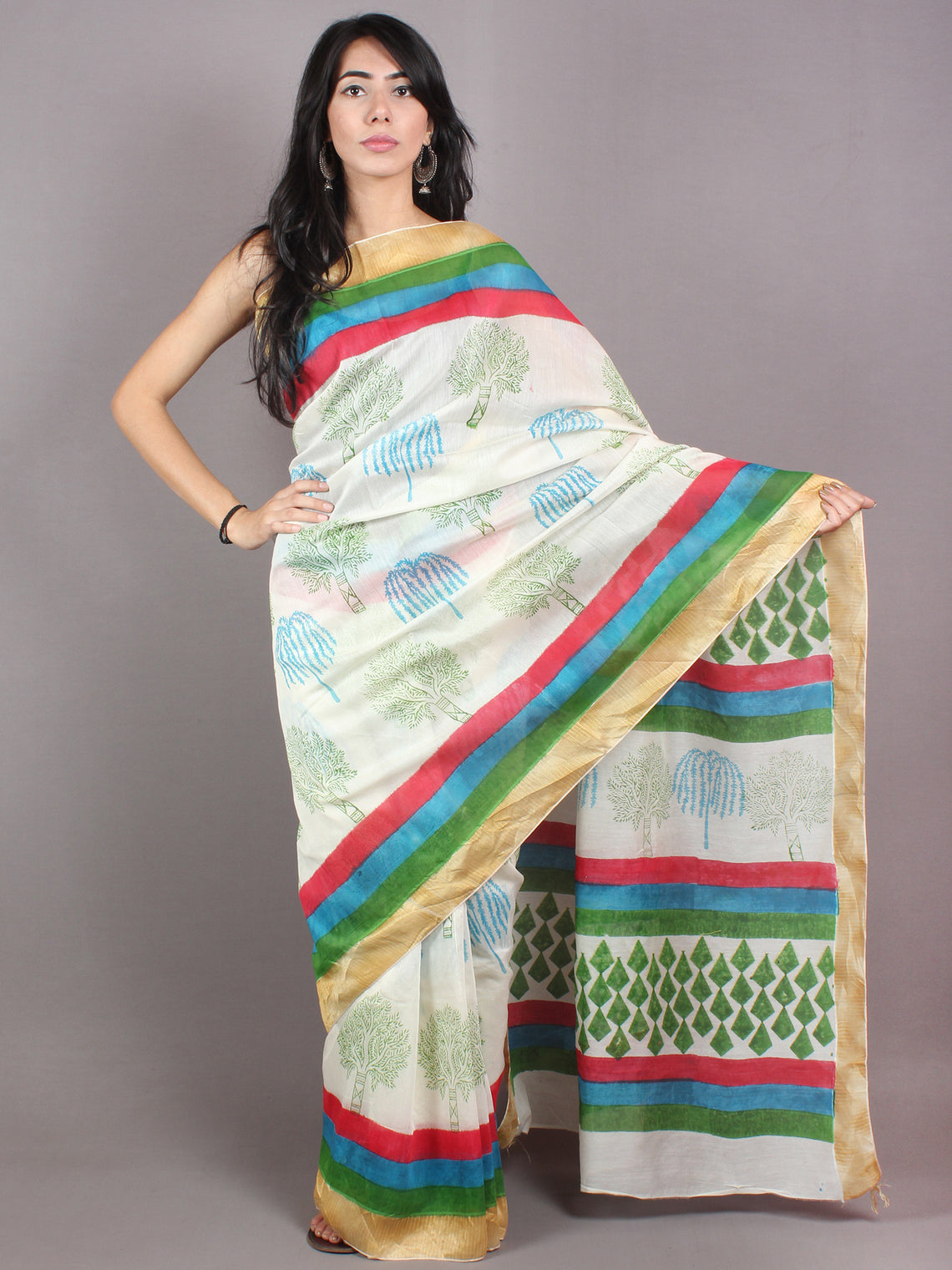 Ivory Green Blue Hand Block Printed in Natural Colors Chanderi Saree With Geecha Border - S03170684