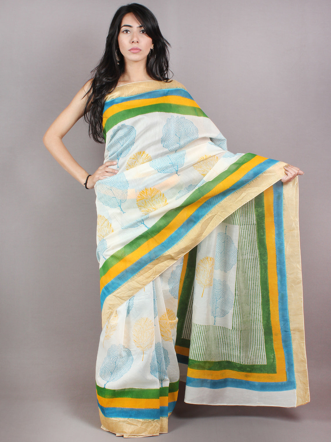 Ivory Yellow Blue Hand Block Printed in Natural Colors Chanderi Saree With Geecha Border - S03170685