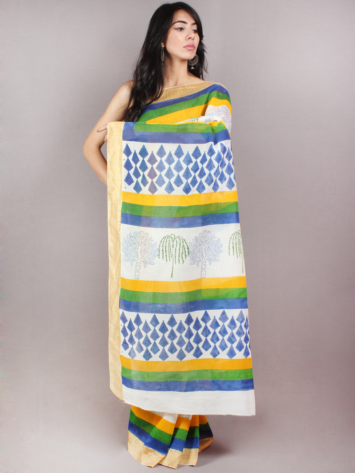 Ivory Yellow Blue Hand Block Printed in Natural Colors Chanderi Saree With Geecha Border - S03170686