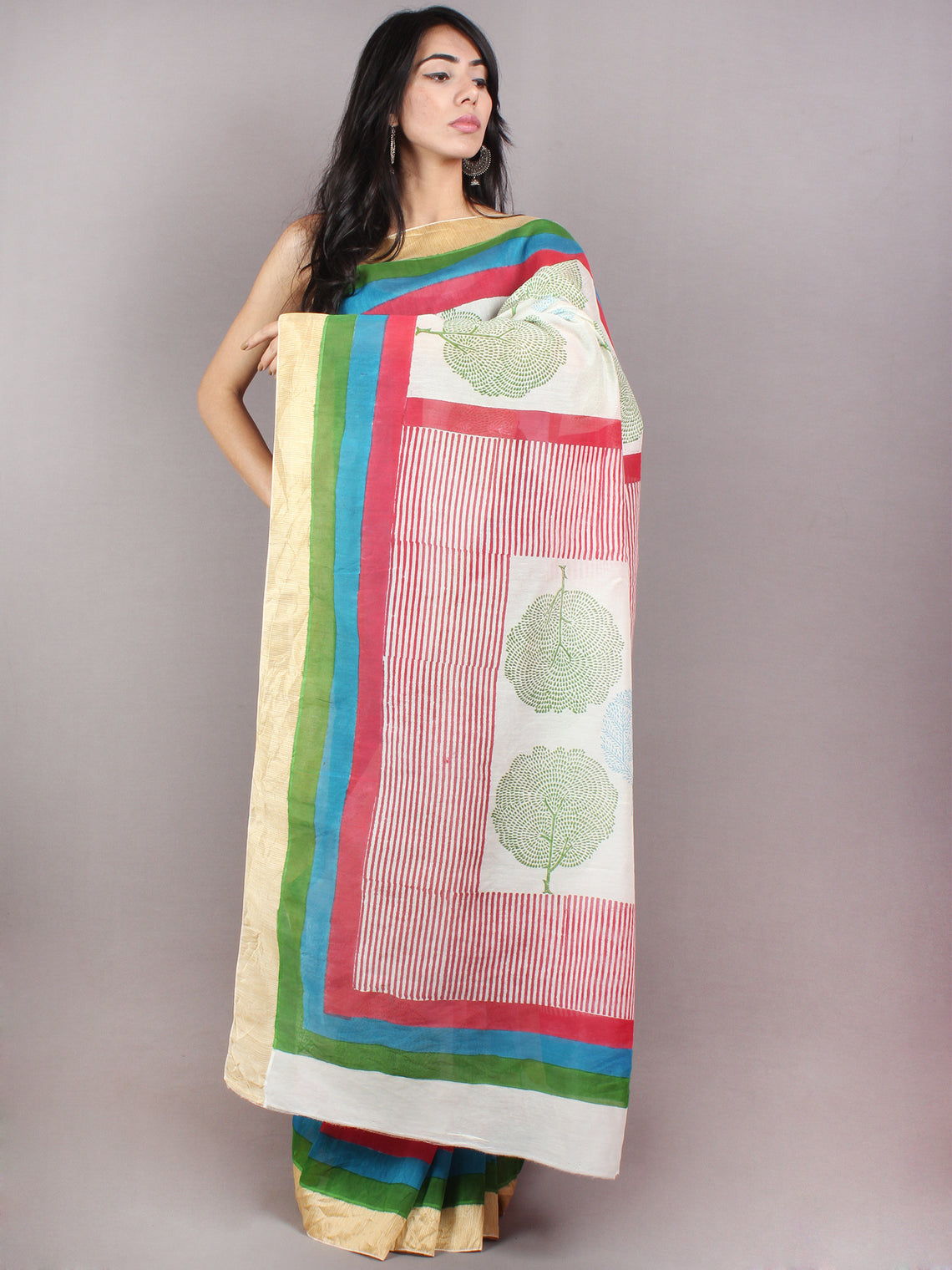 Ivory Green Blue Hand Block Printed in Natural Colors Chanderi Saree With Geecha Border - S03170687