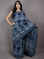 Indigo White Cotton Hand Block Printed & Painted Saree - S03170623