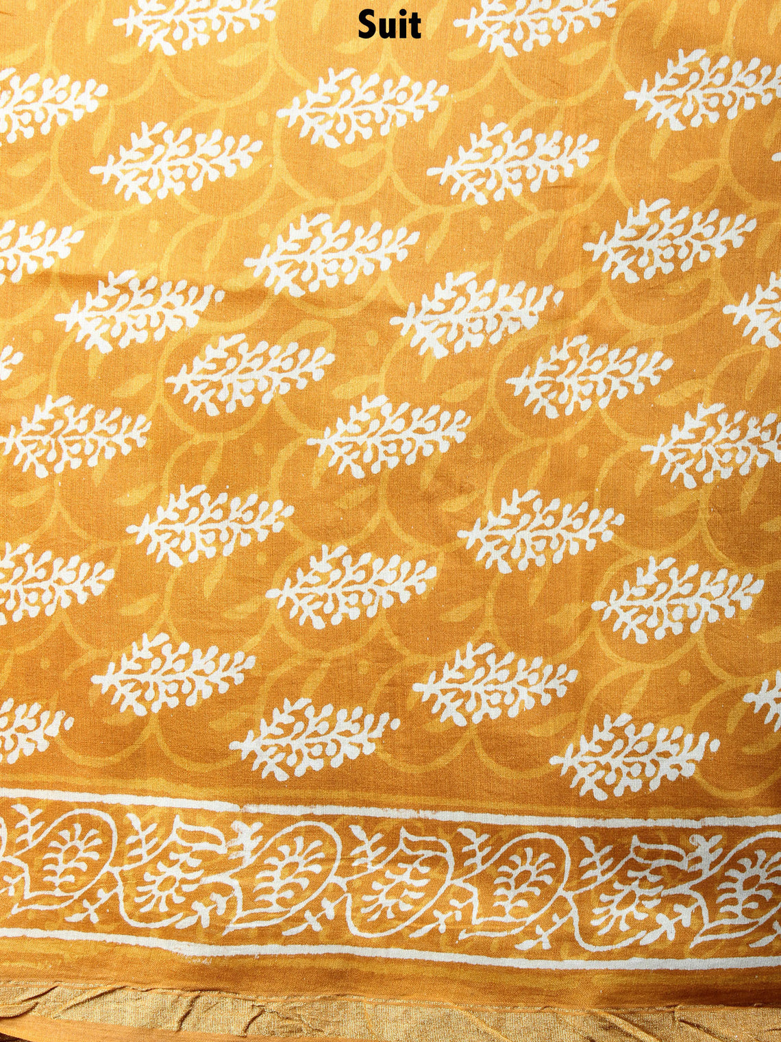 GoldenRod Yellow Hand Block Printed Chanderi Kurta-Salwar Fabric With Chanderi Dupatta - S1628069
