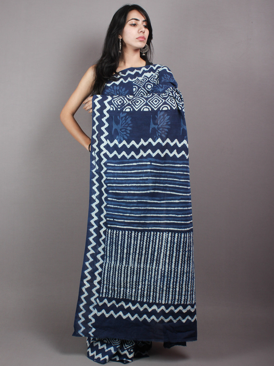 Indigo White Cotton Hand Block Printed & Painted Saree - S03170626