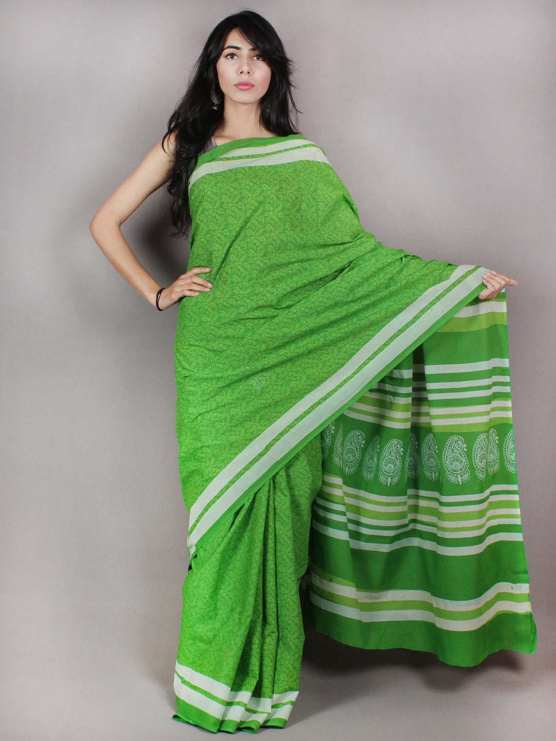 Pear Green White Hand Block Printed in Natural Colors Cotton Mul Saree - S03170733