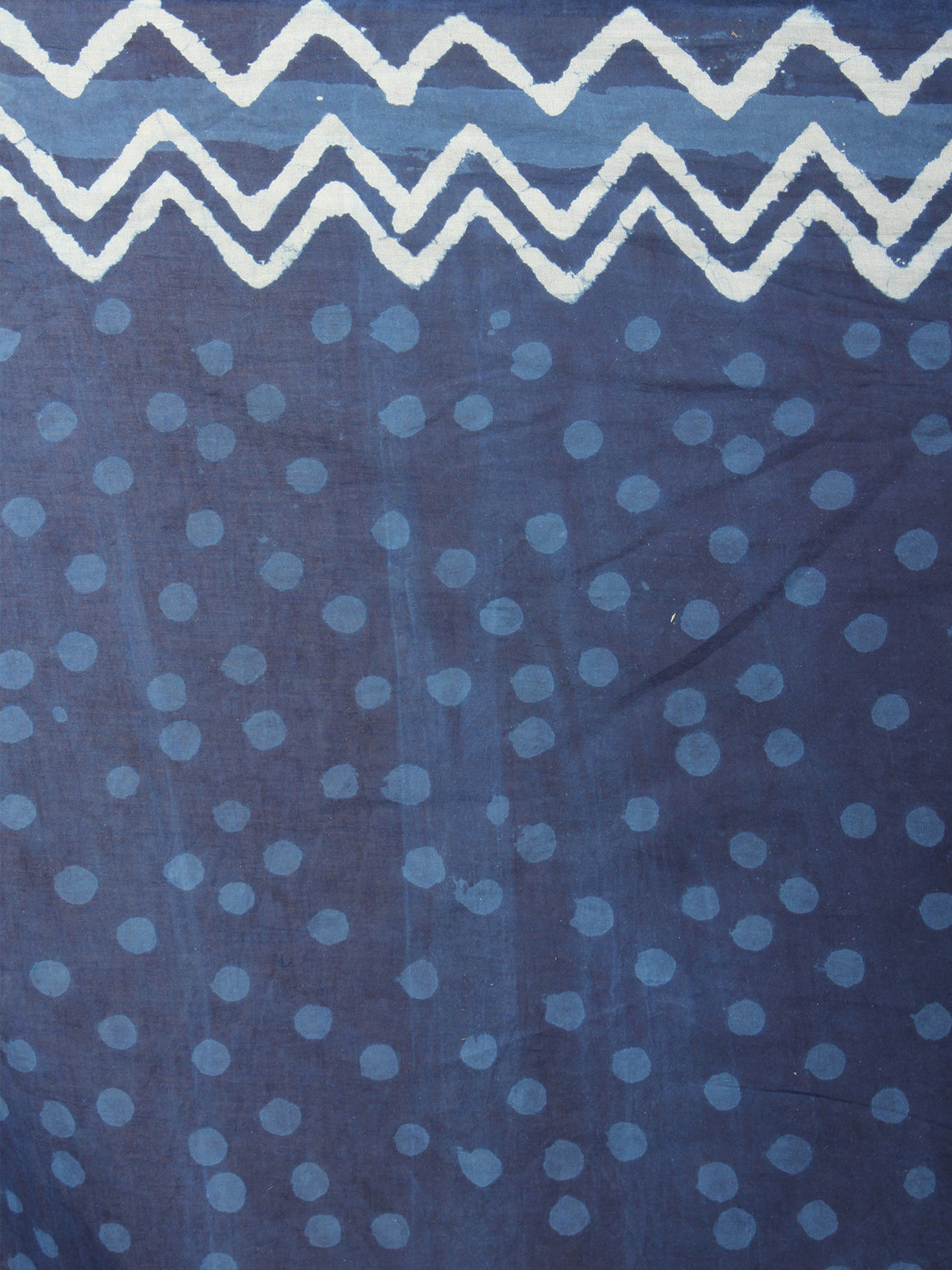 Indigo Ivory Cotton Hand Block Printed Saree - S03170695