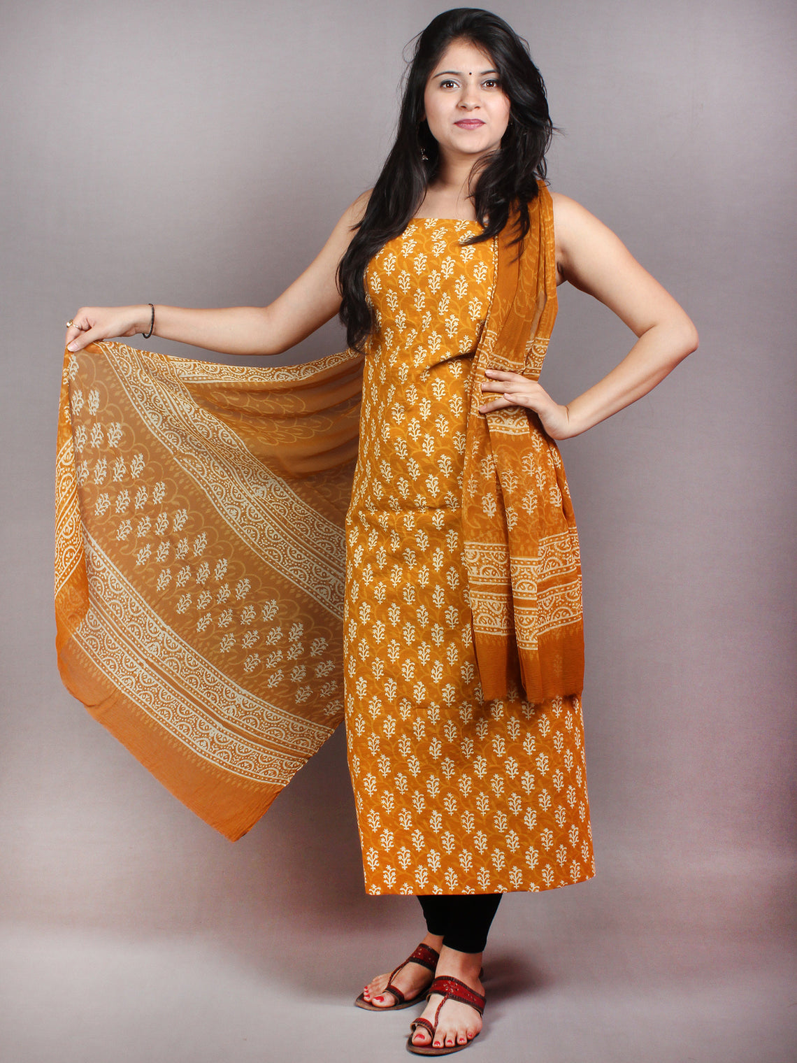 GoldenRod Yellow White Hand Block Printed Cotton Suit-Salwar Fabric With Chiffon Dupatta - S1628047