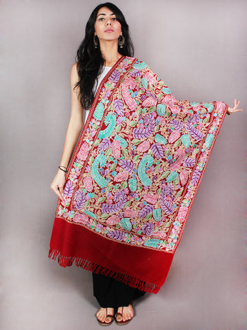 Maroon Aari Embroidery Pure Wool Jamawar Stole from Kashmir - S6317079