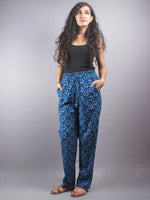 Indigo Hand Block Printed Elasticated Waist Trousers- T0317007