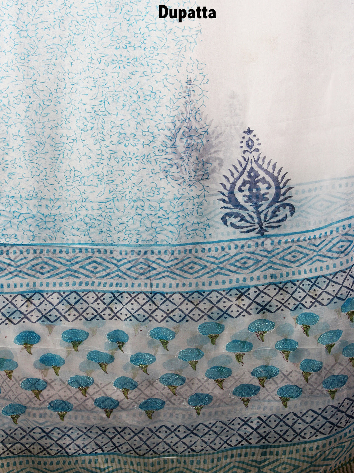 White Blue Green Hand Block Printed Cotton Suit-Salwar Fabric With Chiffon Dupatta - S1628100