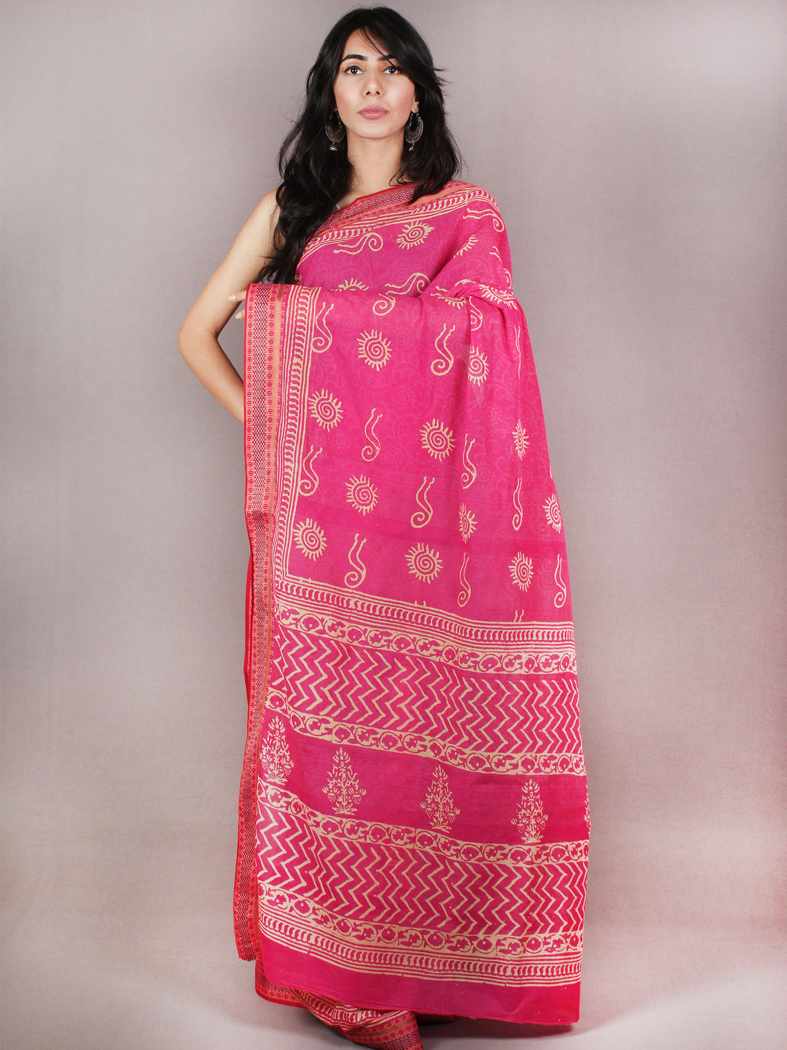 Pink Beige Hand Block Printed in Natural Colors Cotton Mul Saree With Resham Border - S03170705