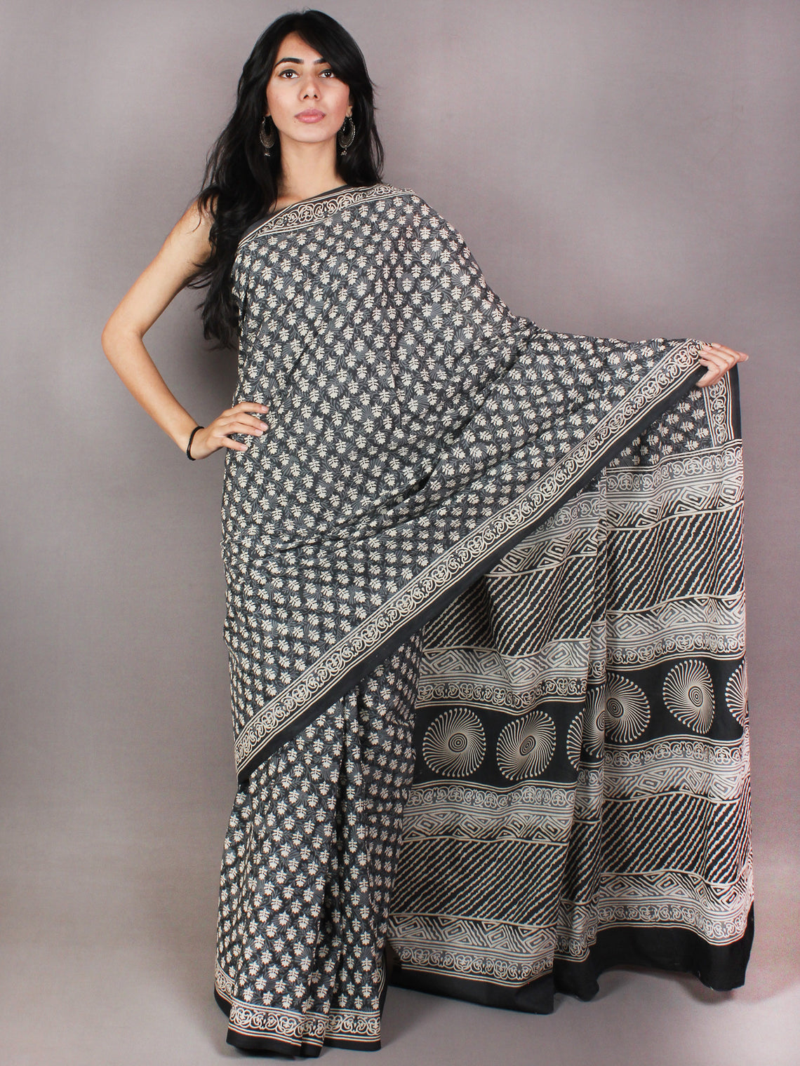 Black Ivory Hand Block Printed in Natural Colors Cotton Mul Saree - S03170707