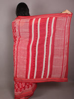 Pink Ivory Hand Block Printed in Natural Colors Cotton Mul Saree With Resham Border - S03170708
