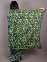 Pine Green Yellow Ivory Hand Block Printed in Natural Colors Chanderi Saree - S03170709