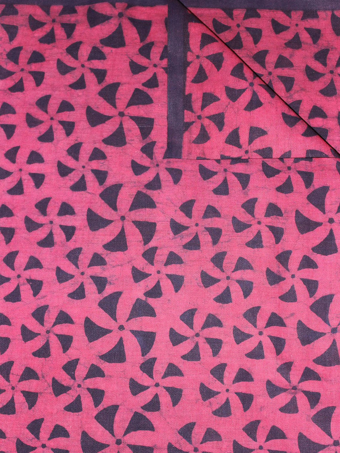 Light Pink Black Hand Block Printed Cotton Cambric Fabric Per Meter - F0916465