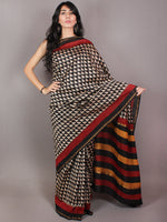 Black Beige Red Hand Block Printed in Natural Colors Chanderi Saree - S03170713