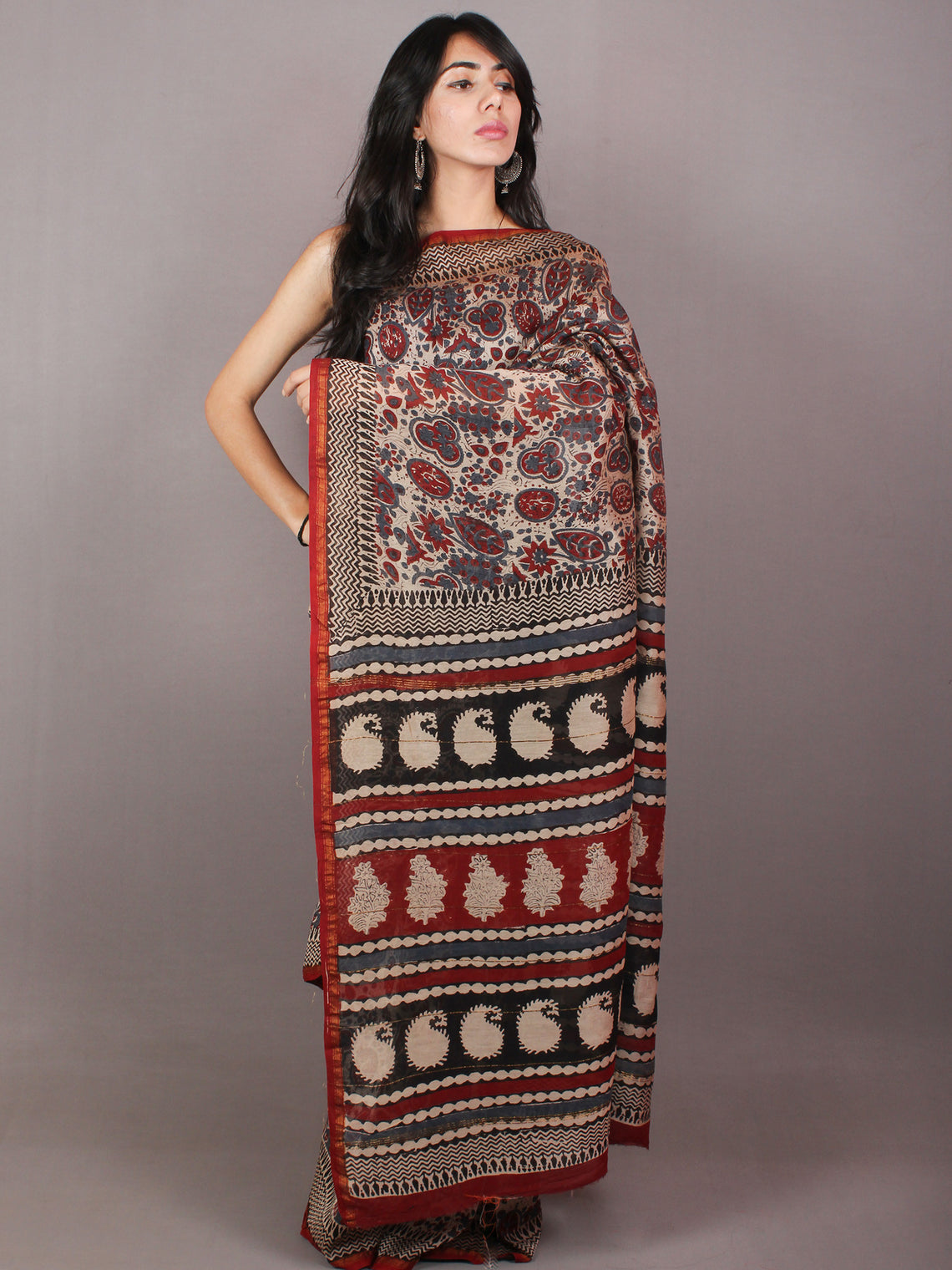 Brown Maroon Red Hand Block Printed in Natural Colors Chanderi Saree - S03170715
