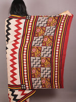 Red Black Beige Hand Block Printed in Natural Colors Cotton Mul Saree - S03170716