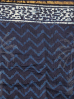 Indigo White Blue Hand Block Printed in Natural Colors Chanderi Saree - S03170717
