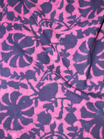 Pink Indigo Hand Block Printed Cotton Cambric Fabric Per Meter - F0916467