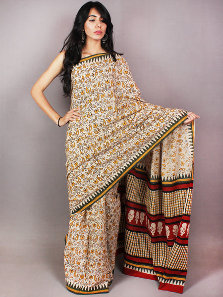 Beige Yellow Red Black Hand Block Printed in Cotton Mul Saree - S03170724