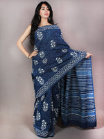 Indigo White Blue Hand Block Printed in Cotton Mul Saree - S03170725