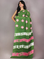 Green Pink Ivory Shibori Dyed Cotton Mul Saree  - S03170727