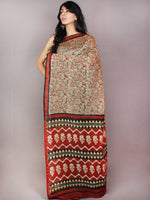 Beige Red Green Black Bagru Dabu Hand Block Printed in Chanderi Saree - S03170730