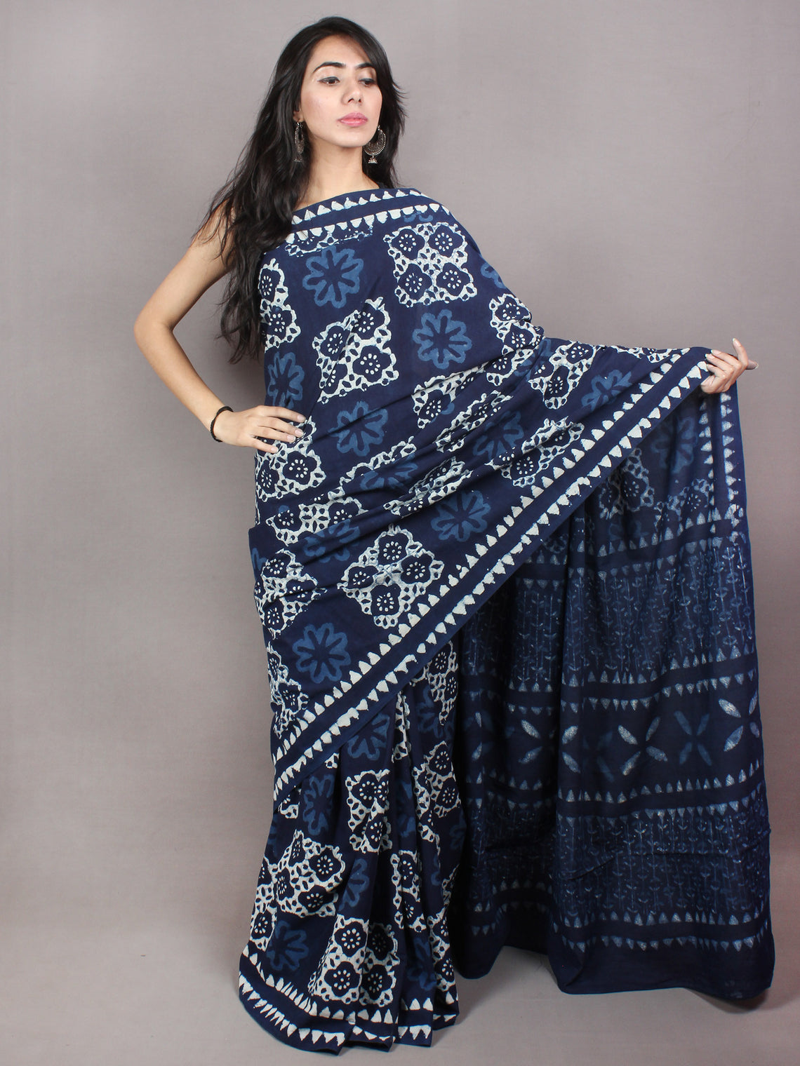 Indigo White Cotton Hand Block Printed & Painted Saree - S03170737
