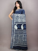 Indigo Cotton Hand Block Printed Saree in Natural Colors - S03170738