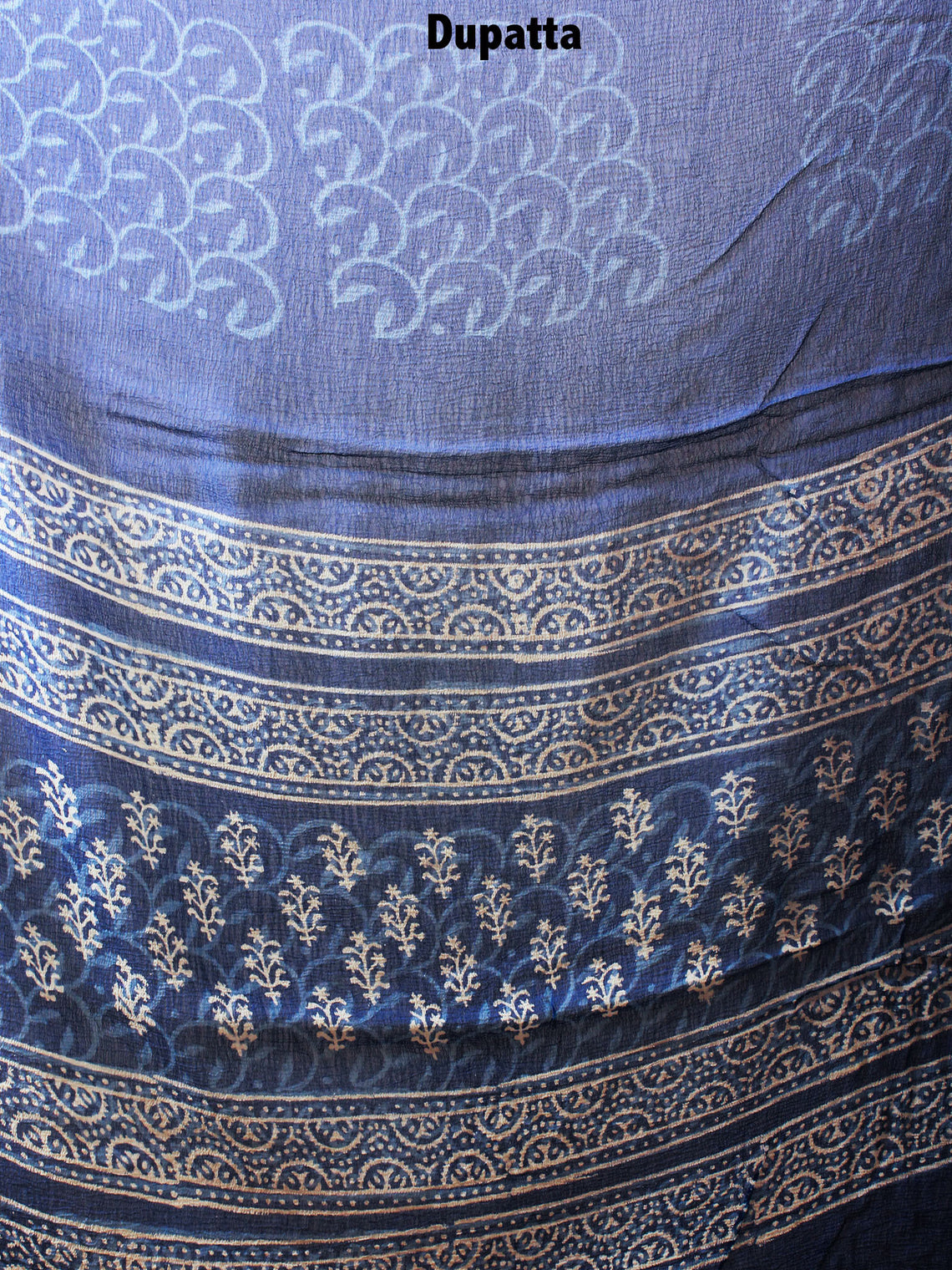 Indigo Beige Hand Block Printed Cotton Suit-Salwar Fabric With Chiffon Dupatta - S1628074