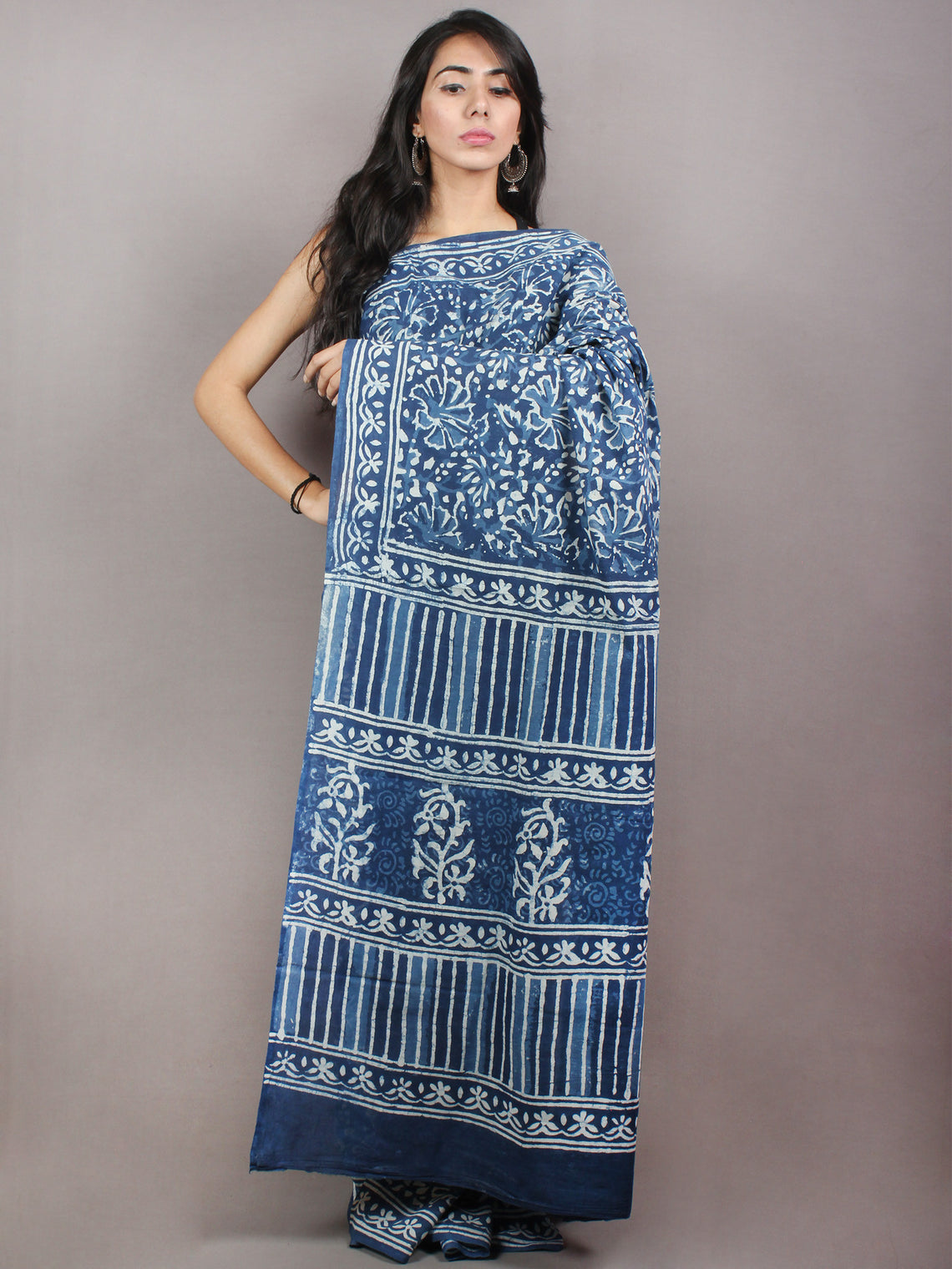 Indigo Cotton Hand Block Printed & Painted Saree - S03170740