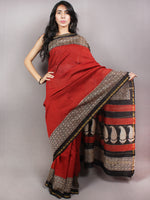 Red Beige Black Bagru Hand Block Printed & Hand Putai Chanderi Saree - S03170741