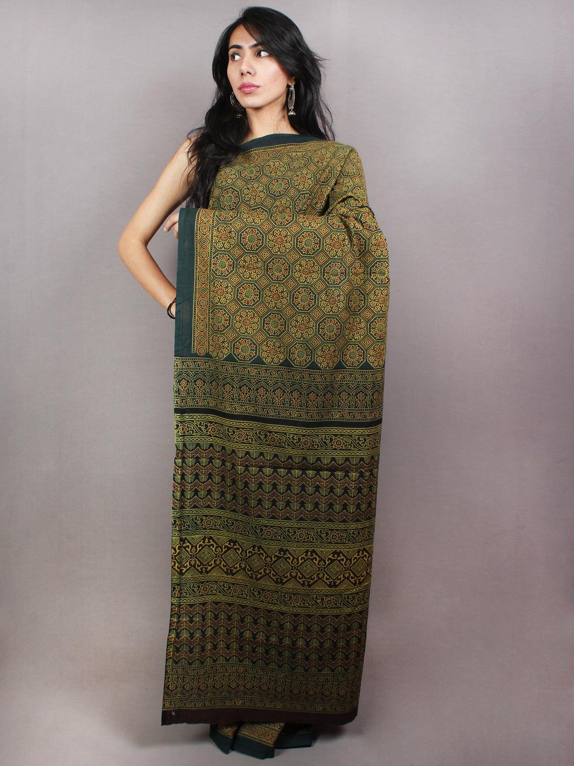 Dark Green Beige Mughal Nakashi Ajrakh Hand Block Printed in Natural Vegetable Colors Cotton Mul Saree - S03170743