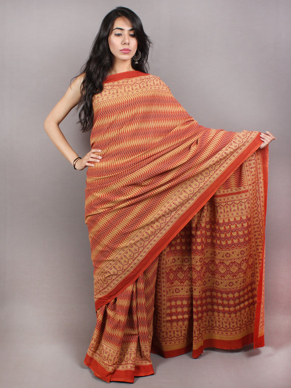 Red Beige Yellow Maroon Mughal Nakashi Ajrakh Hand Block Printed in Natural Vegetable Colors Cotton Mul Saree - S03170744
