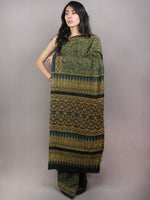 Dark Green Beige Mughal Nakashi Ajrakh Hand Block Printed in Natural Vegetable Colors Cotton Mul Saree - S03170745
