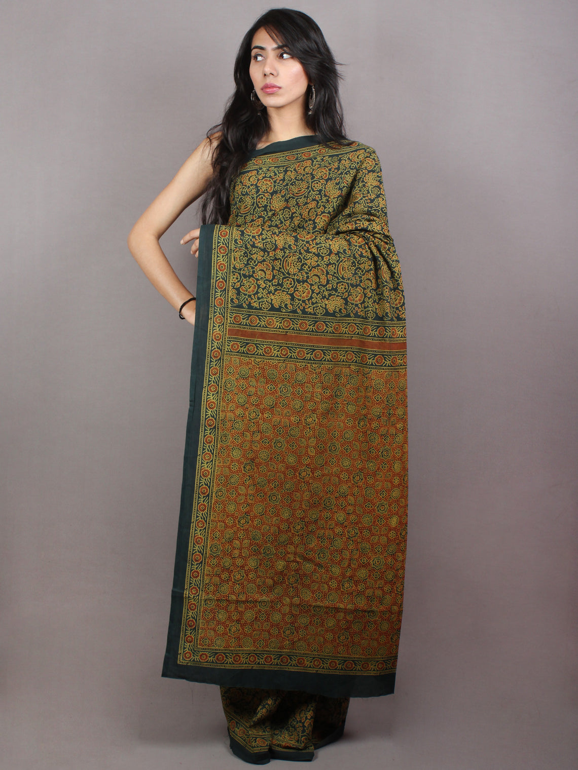 Dark Green Beige Mughal Nakashi Ajrakh Hand Block Printed in Natural Vegetable Colors Cotton Mul Saree - S03170746