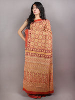 Red Beige Maroon Mughal Nakashi Ajrakh Hand Block Printed in Natural Vegetable Colors Cotton Mul Saree - S03170748