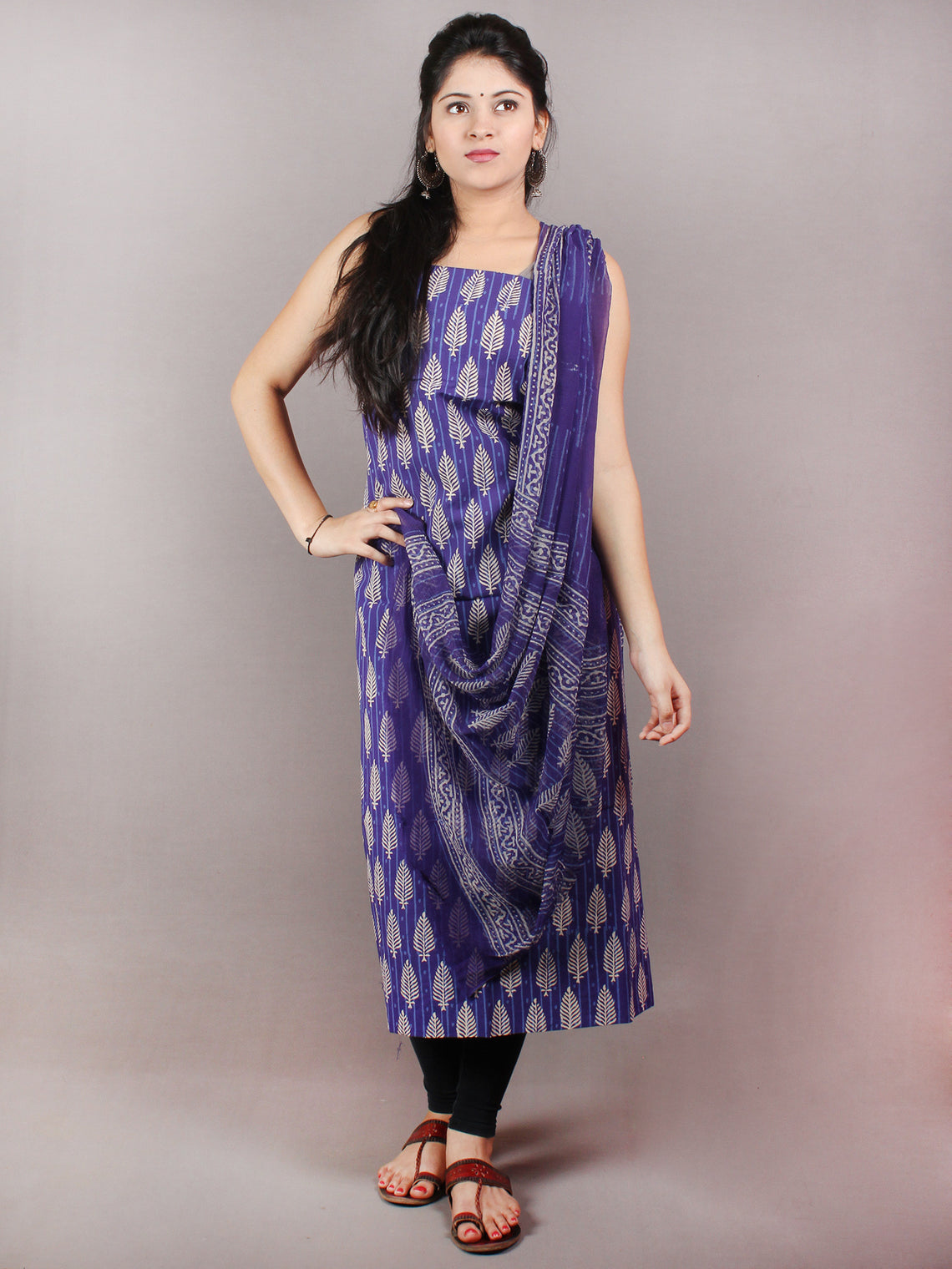 Indigo Beige Hand Block Printed Cotton Suit-Salwar Fabric With Chiffon Dupatta - S1628075