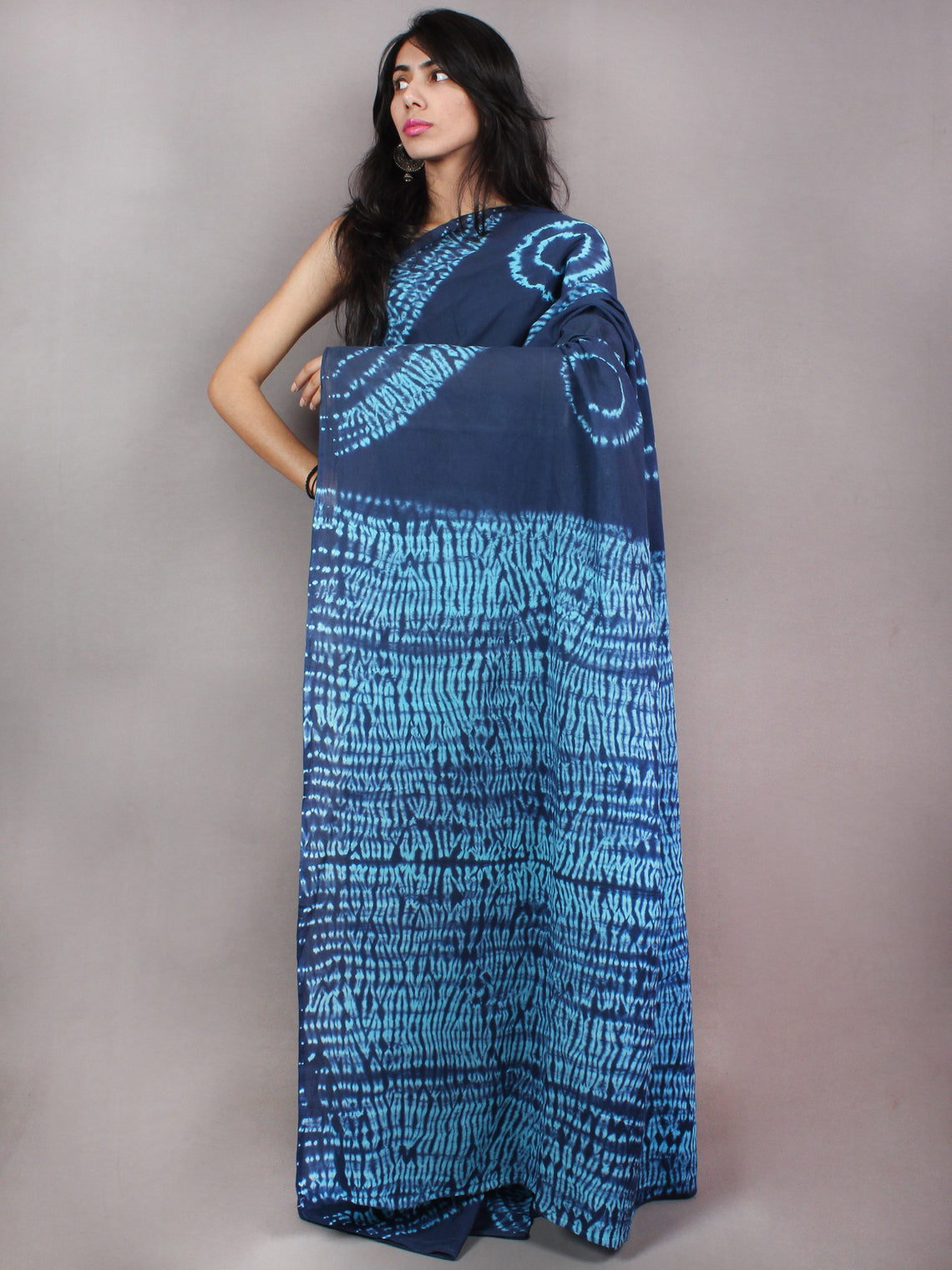 Indigo Sky Blue Shibori Dyed Cotton Mul Saree  - S03170760