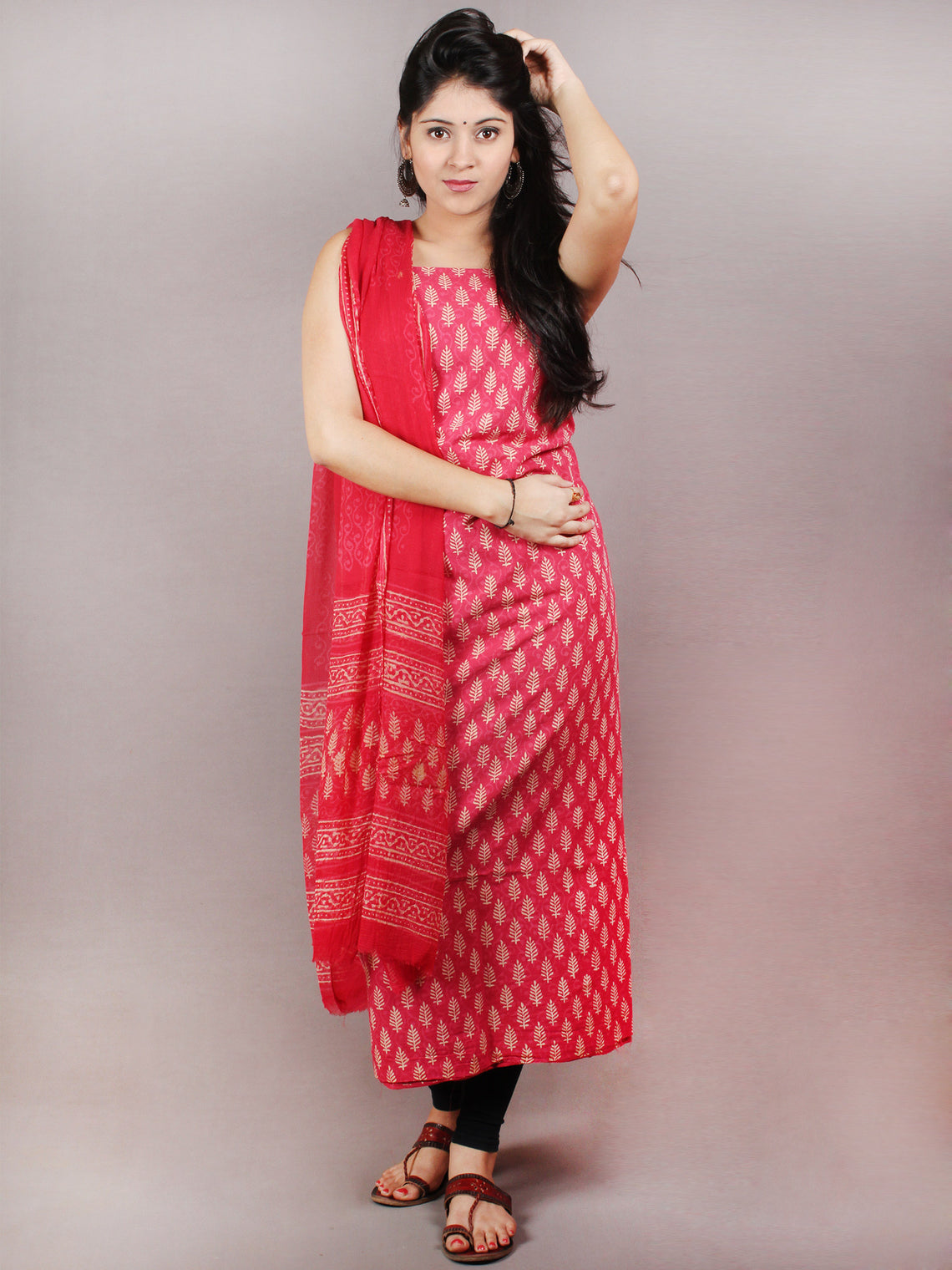 Rose Pink Beige Hand Block Printed Cotton Suit-Salwar Fabric With Chiffon Dupatta - S1628077