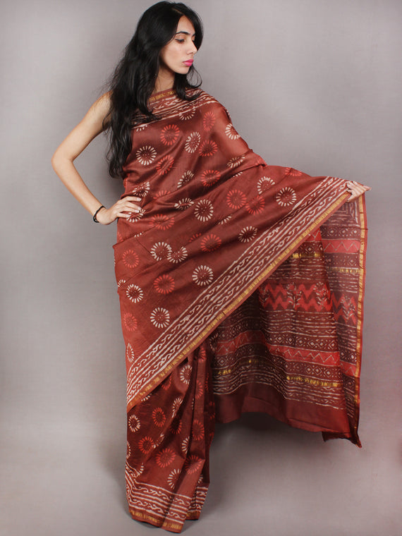 Sepia Brown Ivory Red Hand Block Printed in Natural Colors Chanderi Saree - S03170770