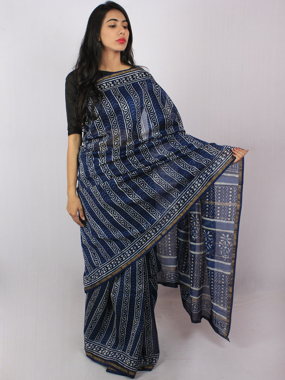 Indigo Ivory Blue Hand Block Printed in Natural Colors Chanderi Saree - S03170771