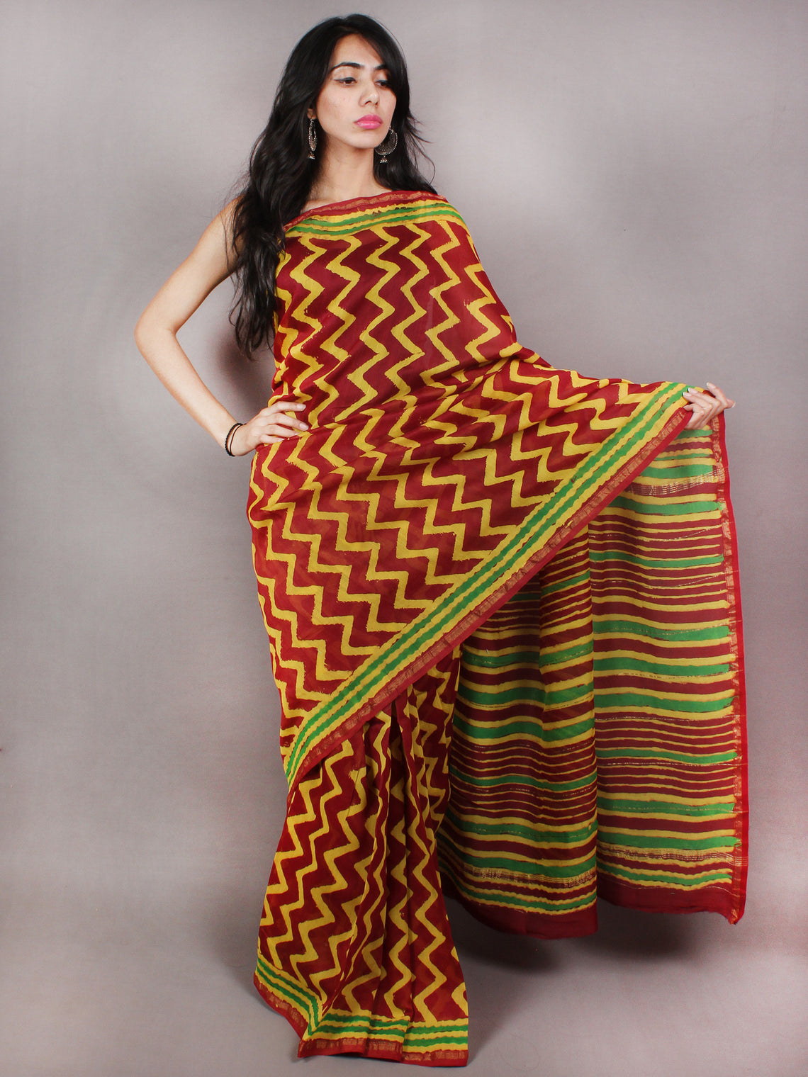 Maroon Yellow Green Hand Block Printed in Natural Colors Chanderi Saree - S03170774
