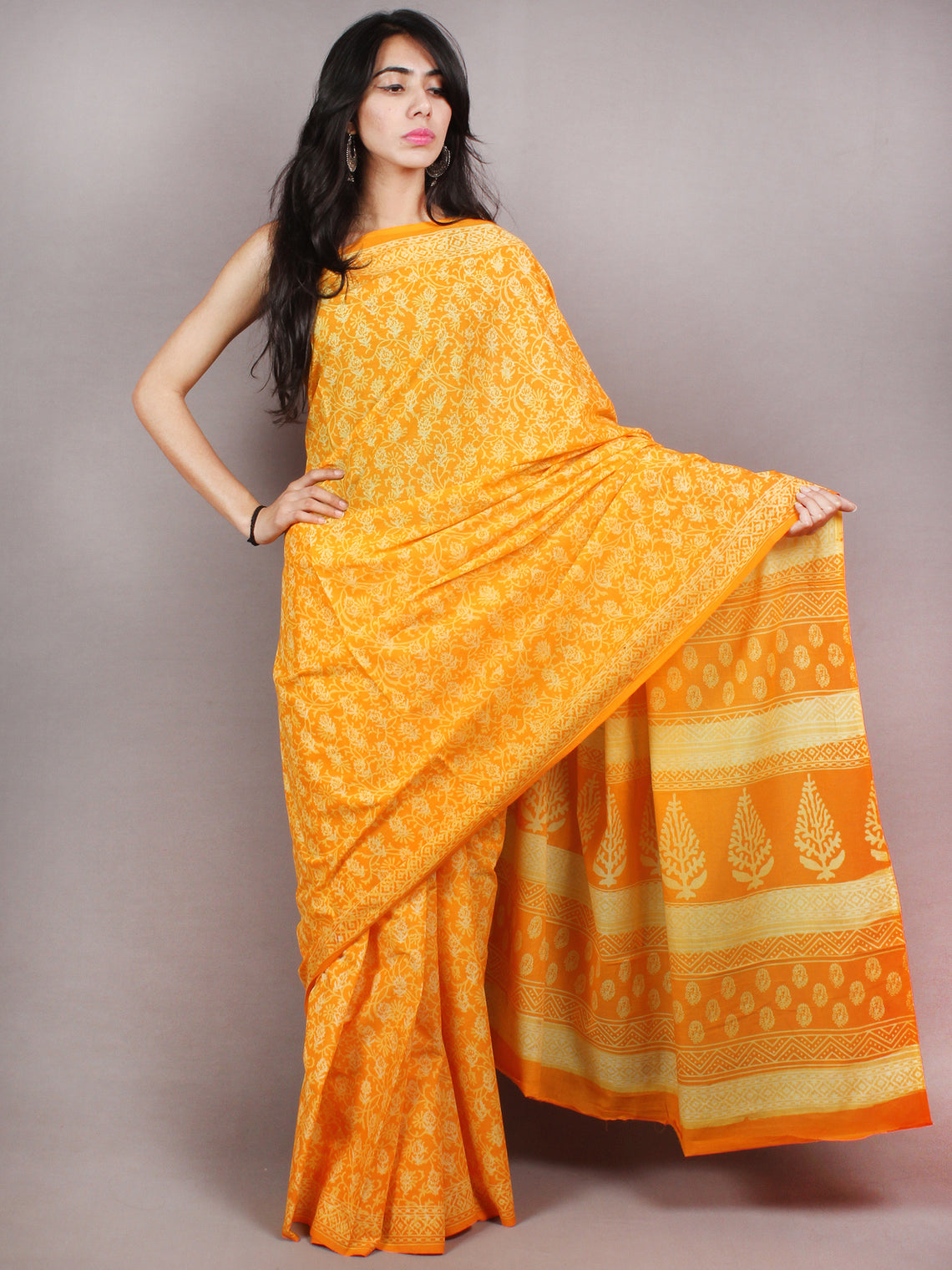 Yellow Beige Hand Block Printed in Natural Colors Cotton Mul Saree - S03170779