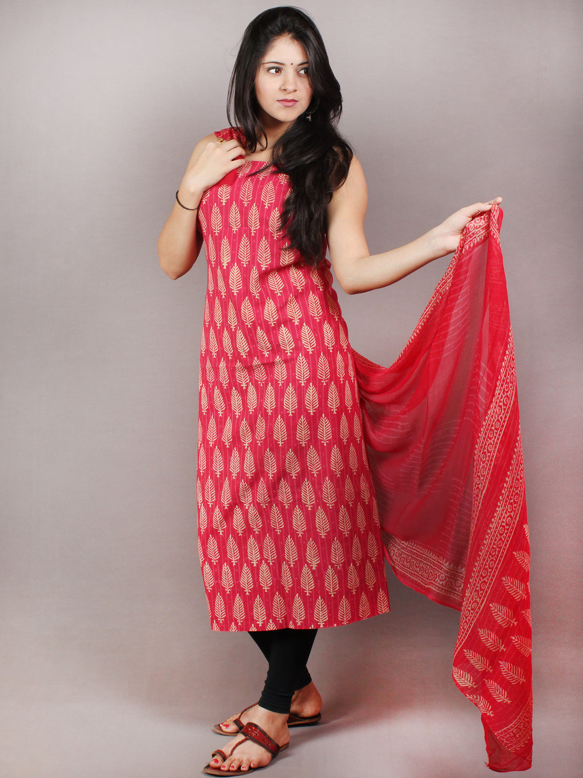 Rose Pink Beige Hand Block Printed Cotton Suit-Salwar Fabric With Chiffon Dupatta - S1628078