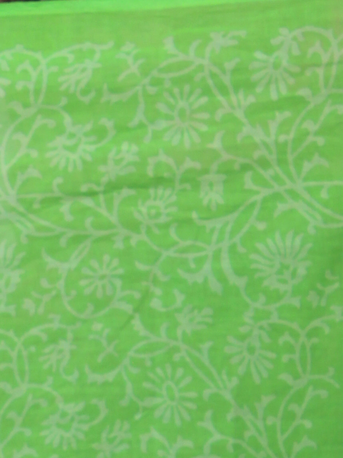 Mint Green White Hand Block Printed in Natural Colors Cotton Mul Saree - S03170785