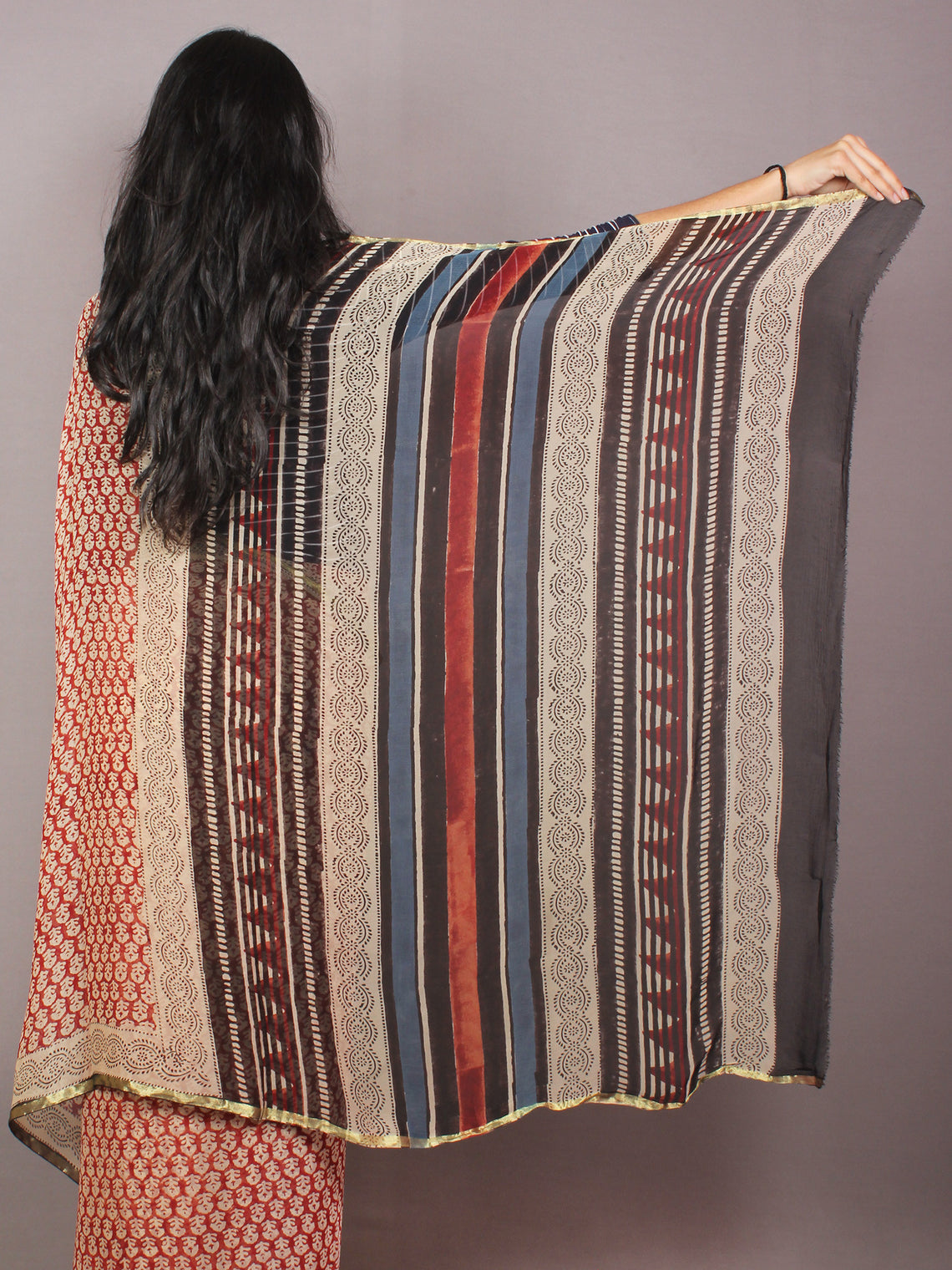 Maroon Ivory Black Hand Block Printed in Natural Colors Chiffon Saree - S03170786