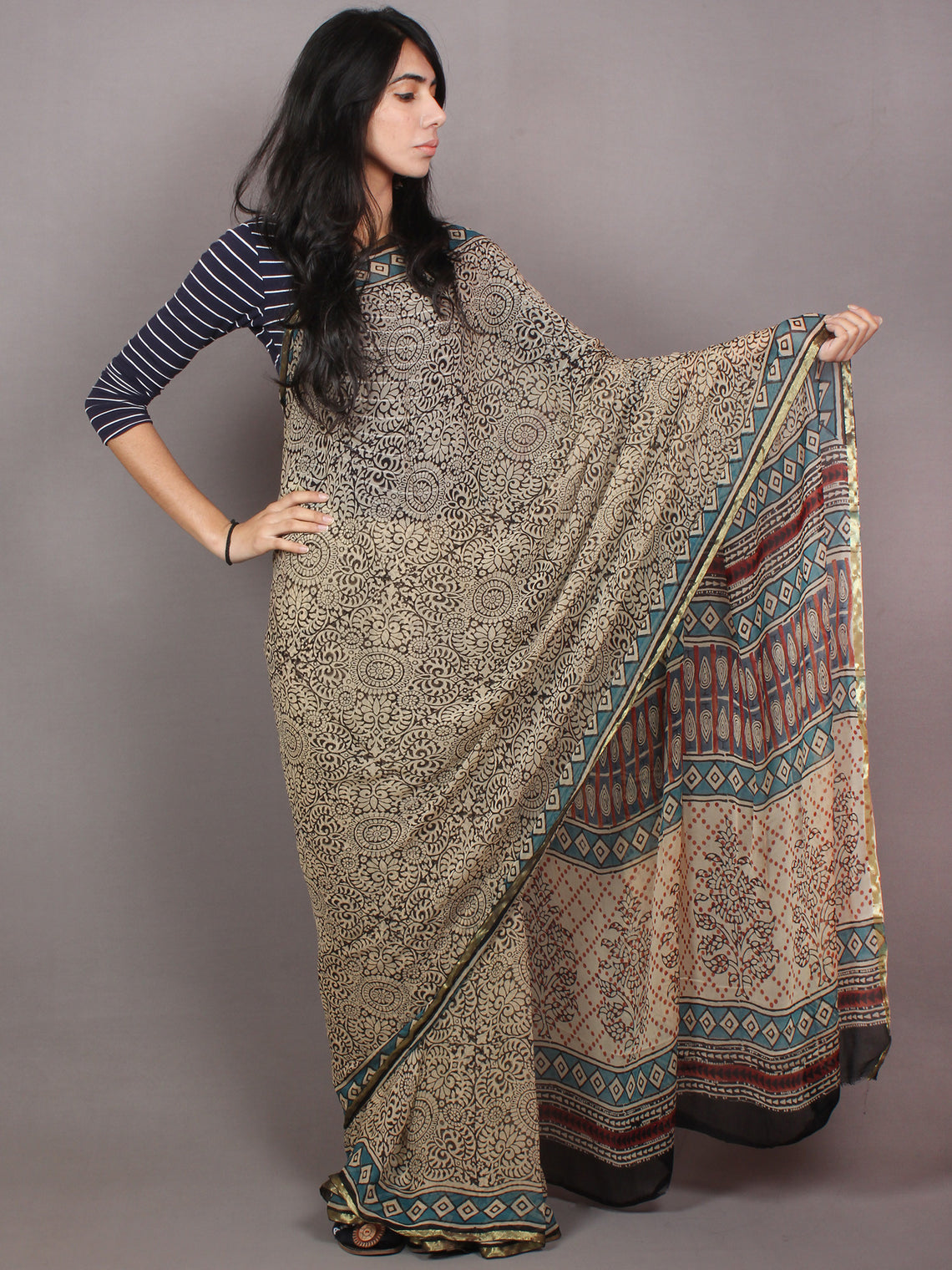 Ivory Black Blue Hand Block Printed in Natural Colors Chiffon Saree - S03170788